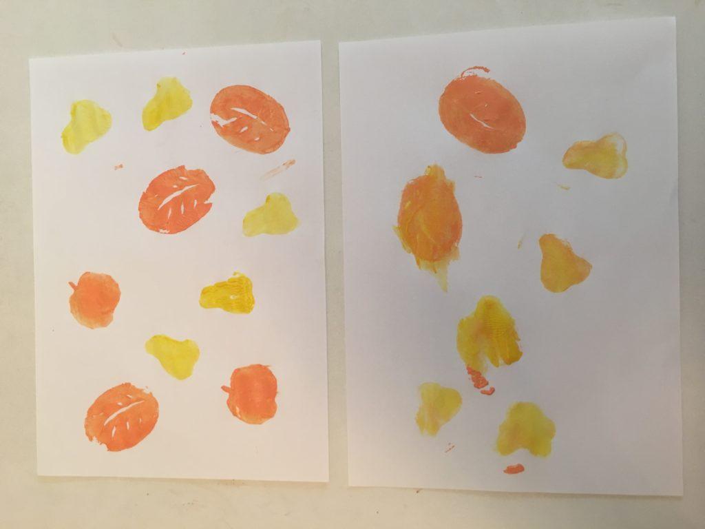 Herbst mit Kindern - Kartoffelstempelbild