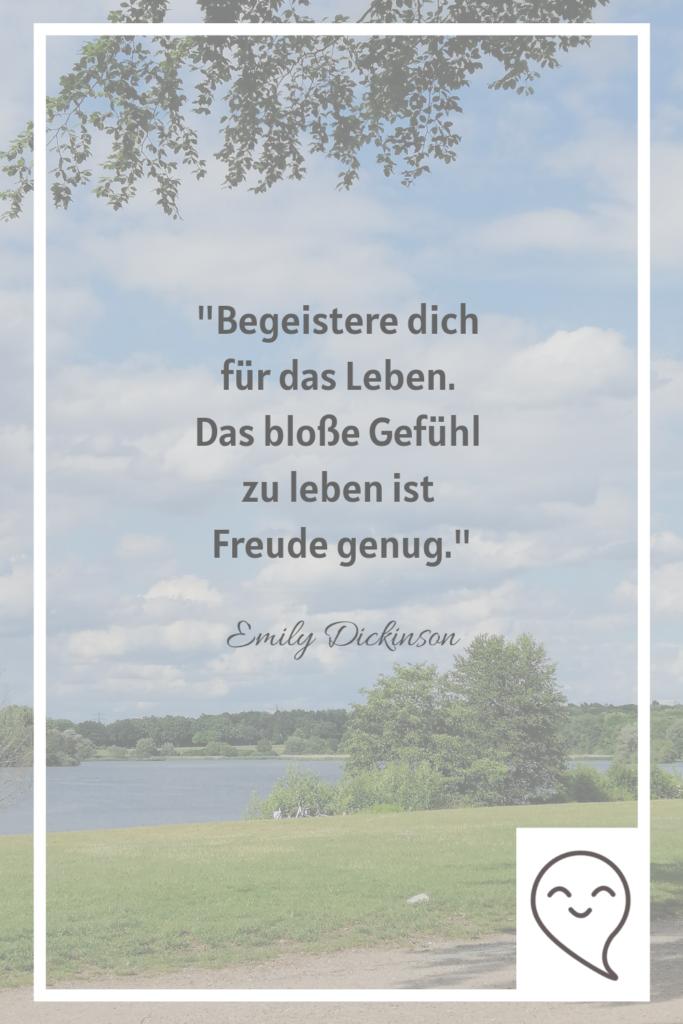 Begeistere dich für das Leben Zitate Achtsamkeit von Emily Dickinson
